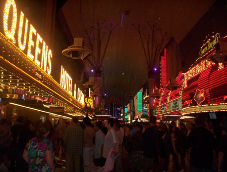 old las vegas freemont street with casino lights on