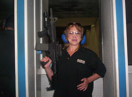 Sister in law holding an M16